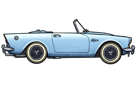 451 Illustration Of A 1961 Sunbeam Alpine Driven By James Bond